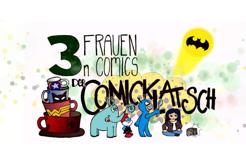 Banner des Podcasts - mehrere gezeichnete Superhelden, daneben Tassen und der Schriftzug