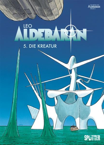 Aldebaran 05 weißes futuristisches Gefährt vor blauem Hintergrund