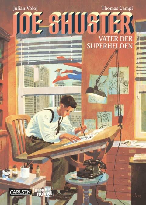 Cover des Comics zeigt einen Künstler, der an einem Zeichentisch sitzt und im Hintergrund fliegt Superman vorbei