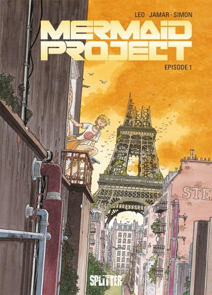 Mermaid Project 01 - Frau klettert an einer Hauswand im Hintergrund der Eifelturm