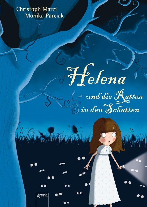 Cover des Buches in blau mit einem kleinen Mädchen in einem weißen Kleid im Vordergrund und vielen Augen im Dickicht