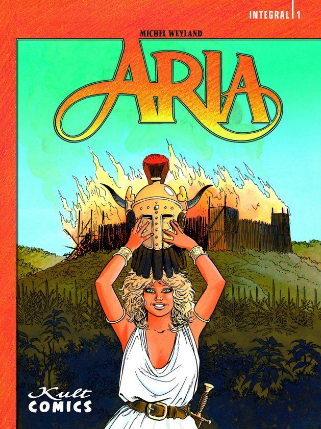 Aria Sammelband 1 Cover, zeigt die blonde Heldin in einem weißen Oberteil und einen Helm über den Kopf hebend