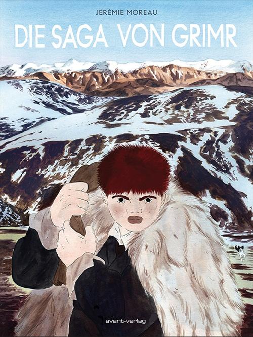 Die Saga von Grimr - Cover des Comics zeigt einen Mann mit Pelzmantel vor einem Gletscher