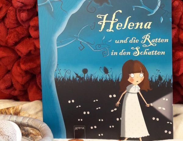 Helena und die Ratten in den Schatten Titelbild. Buch auf einem roten Kissen
