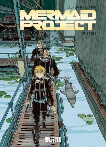 Mermaid Project. Episode 2 - Cover in dunklen Farben mit Delphinen und den Protagonisten