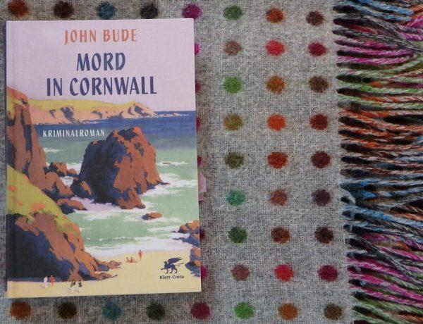 Buch liegt auf einer englischen Wolldecke in grau mit bunten Punkten