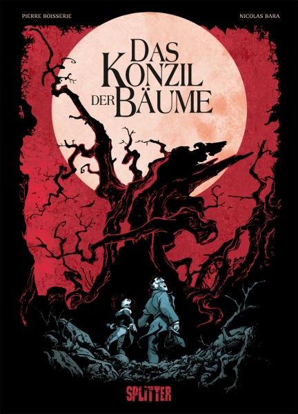 Das Konzil der Bäume - Cover mit rotem Himmel und einem großen schwarzen Baum