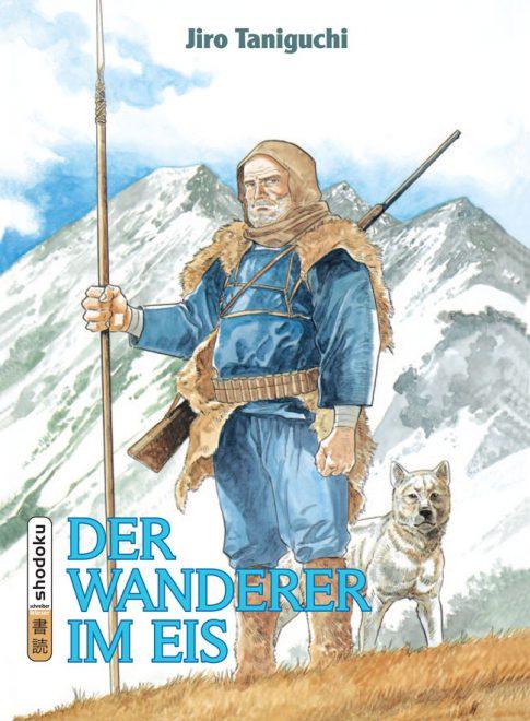 Ein Mann und sein Hund vor einer verschneiten Bergkulisse