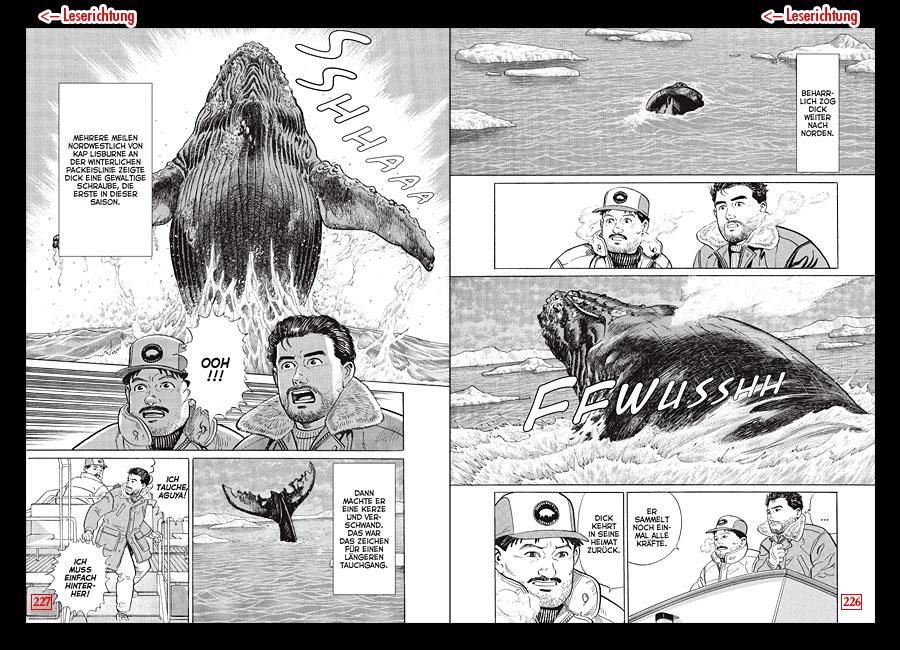 Zeigt zwei Seiten aus dem Manga aus der Geschichte Das Lied der Wale. Es ist ein springender Blauwal zu sehen und Menschen auf einem Boot