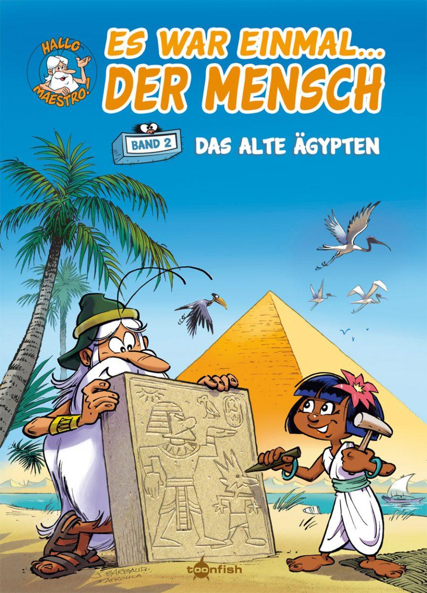 Cover des Comics zeigt eine Pyramide im Hintergrund und vorne einen Mann mit langem weißen Bart und ein Mädchen, das eine Steintafel bearbeitet
