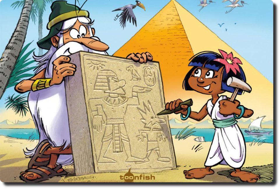 Teil des Covers mit Pyramide, Maestro und einem Mädchen, das eine Steintafel bearbeitet