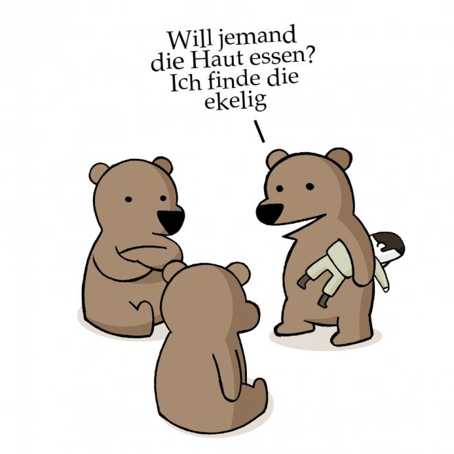 Cartoon mit Bären, die die Haut eines Menschen nicht mögen