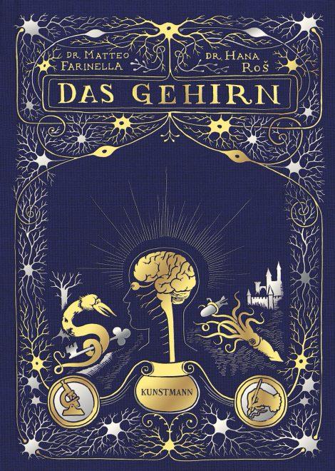 Blaues Buch mit goldenen Illustrationen
