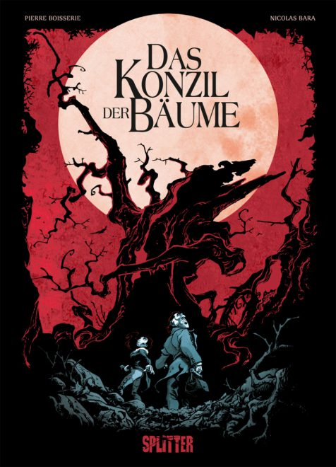 Cover in rot und schwarz zeigt einen verkrüppelten Baum und die Ermittler