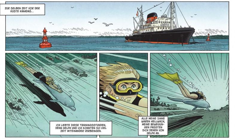 Vier Comicpanel zeigen Romane und den Delphin Delph im Meer