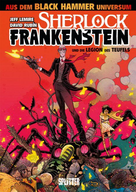 Der verrückte Sherlock Frankenstein auf rotem Hintergrund