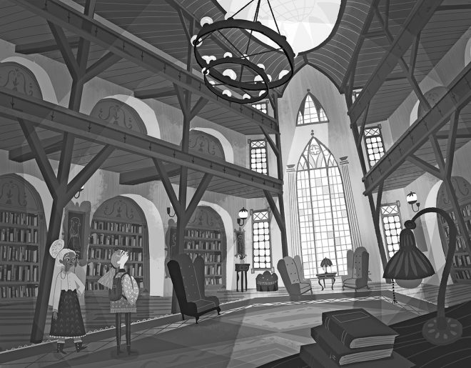 Illustration in schwarz-weiß der Bibliothek