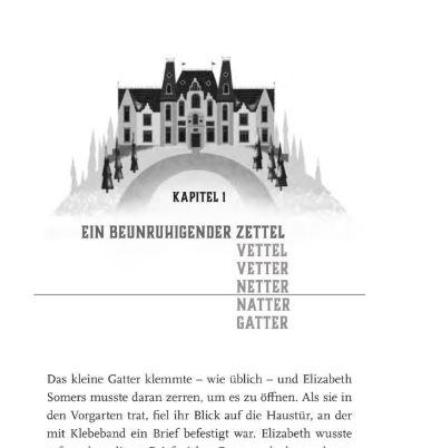 Winterhaus Auszug Seite 11 zeigt eine Illustration des Hotels und darunter den Kapitelbeginn