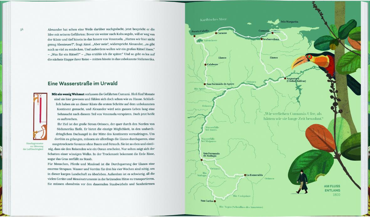 Blick auf die Seiten 38-39, links Text und rechts eine Illustration von Claudia Lieb. Eine Karte des Orinocogebiets und der Reiseroute