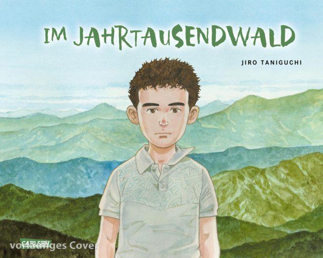 Im Jahrtausendwald Cover zeigt einen Jungen vor einer bergigen Landschaft