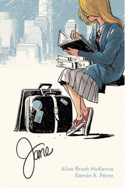 Jane Cover zeigt eine Person auf einer Bank, lesend, danebenein Koffer