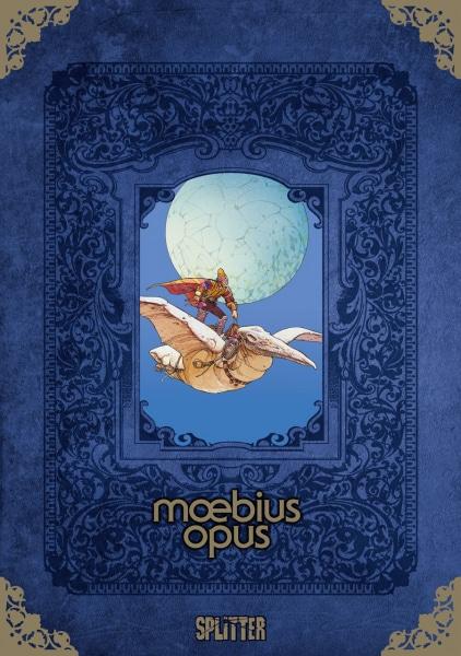 Moebius Opus Cover in blau mit einem kleinen Comicmotiv in der Mitte