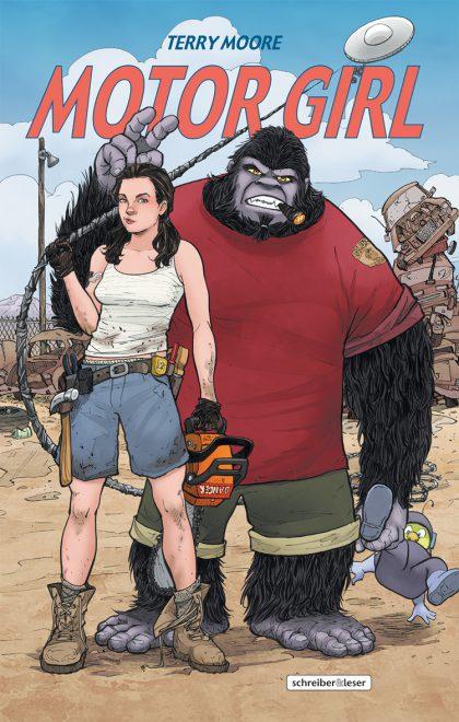 Motor Girl Cover zeigt eine Frau und einen Gorilla in Kleidung