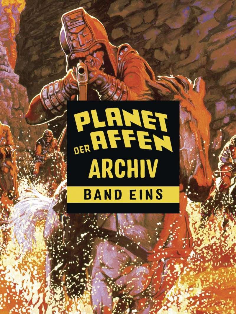 Planet der Affen Archiv Band Eins Cover zeigt einen Gorilla mit angelegtem Revolver