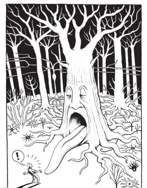 Das Gehirn Seite 30 - ein Baum mit Gesicht, der seinen Mund aufreißt und seine Zunge als Brücke ausgerollt hat - ein Neuron ...