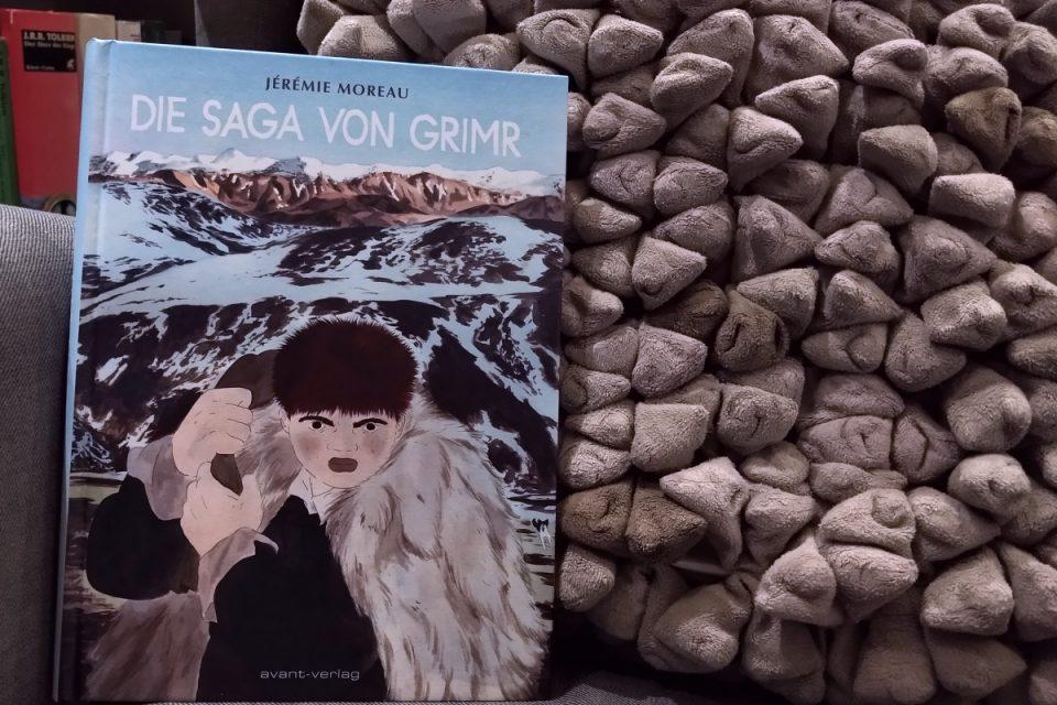 Die Saga von Grimr Titelbild vor einem Kissen