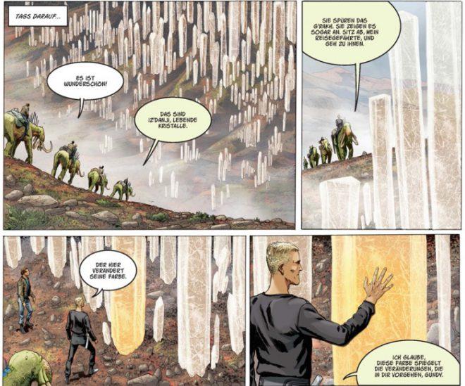 Leseprobe vier Comicpanel, Menschen und Kristalle sind zu sehen