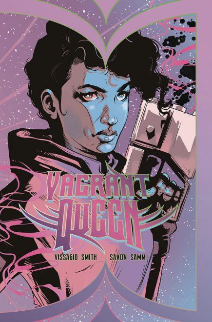 pink-blau-schwarzes Cover mit einer Frau, die eine Waffe hält