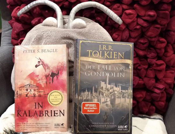 Zwei Fantasyromane vor einer Plüschassel