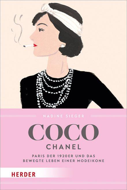 Coco Chanel Cover - Buch in rosa mit einer Zeichnung der Frau in schwarzem Oberteil mit Perlenkette und Zigarette