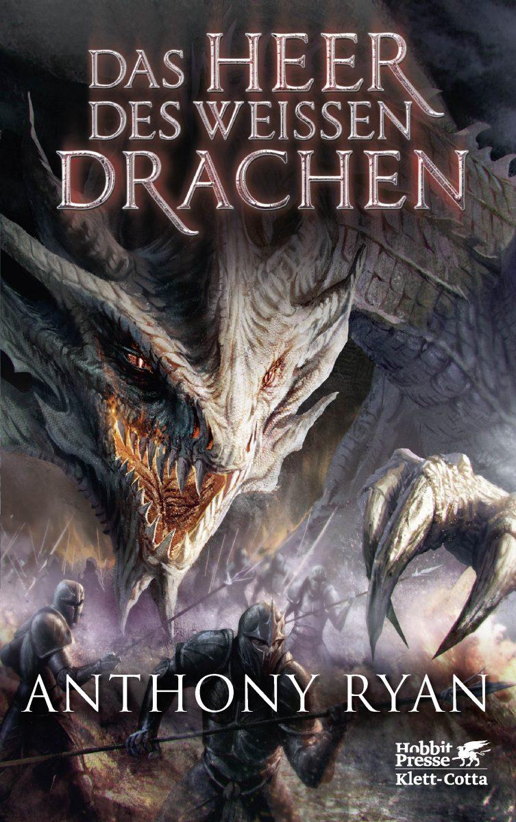 Cover zeigt einen Drachen und Kämpfer in Rüstungen