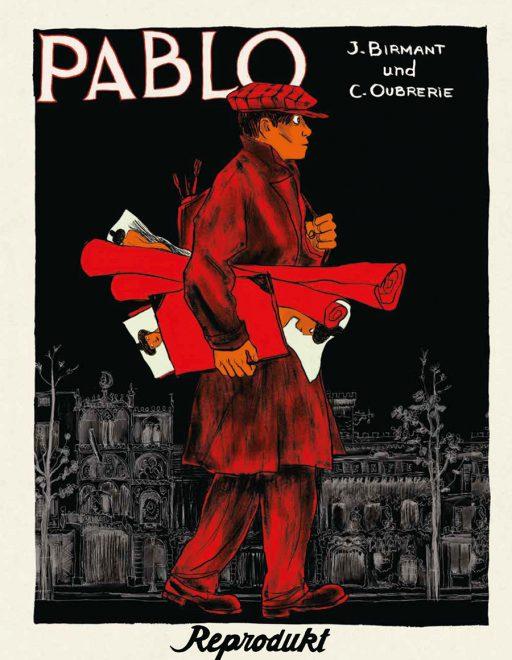 Das Originalcover zeigt Pablo mit Bildern unterm Arm in Rot-Braun-Tönen