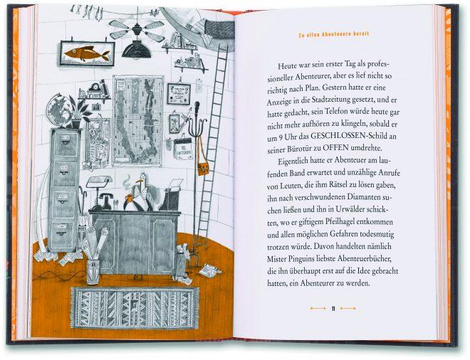 Ausschnitt aus dem Buch, links eine Zeichnung von Mr. Pinguins Büro