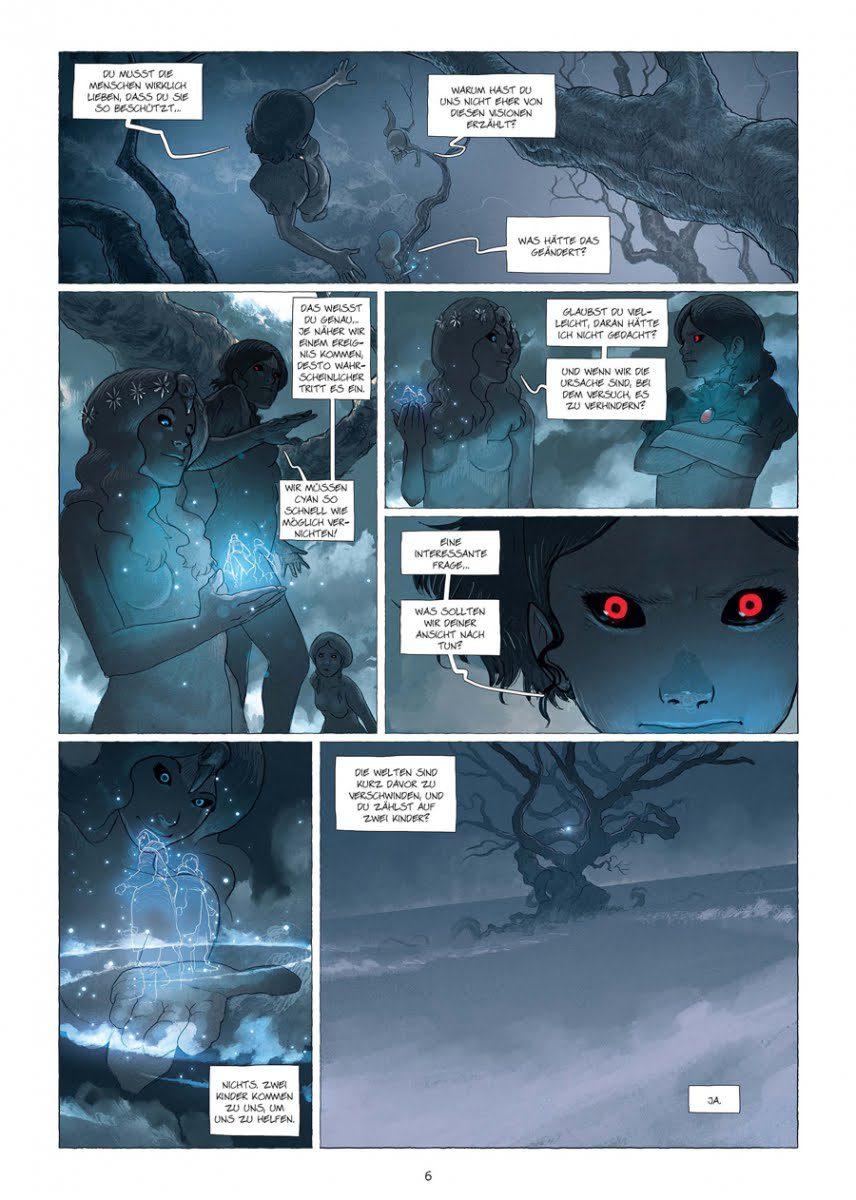 Leseprobe aus dem Comic, S. 6 größtenteils in der Farbe blau koloriert