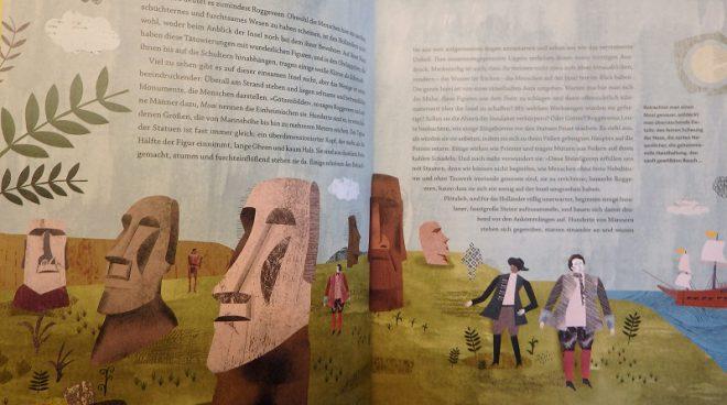 Doppelseite, farbig illustriert mit Darstellung der Steinfiguren auf den Osterinseln