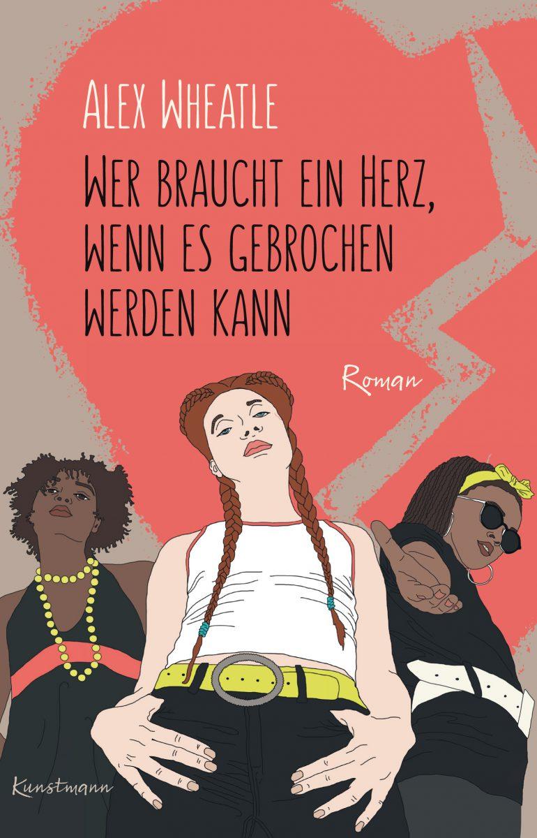 Rot-beiges Cover darauf drei gezeichnete junge Frauen, Blick von unten