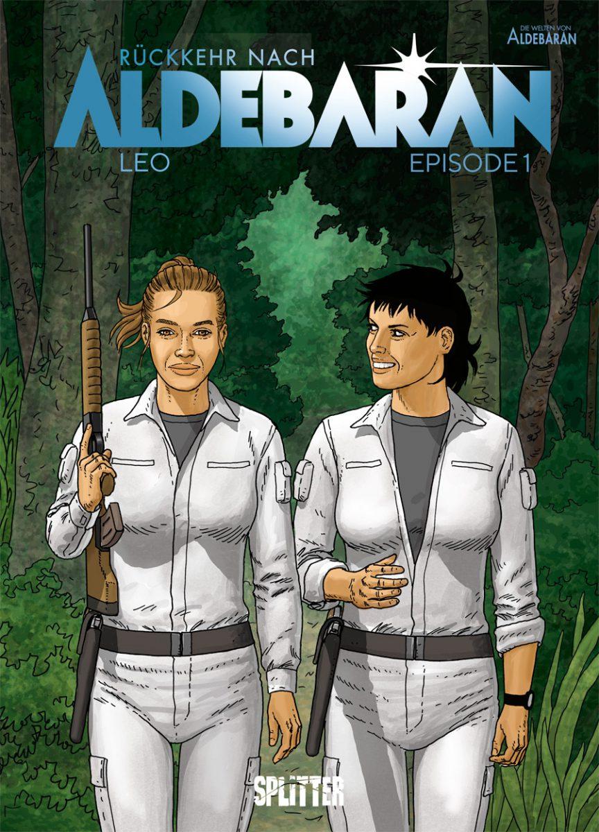 Cover zeigt zwei Frauen in weißen Overalls, beide mit Waffen und durch einen Wald laufend