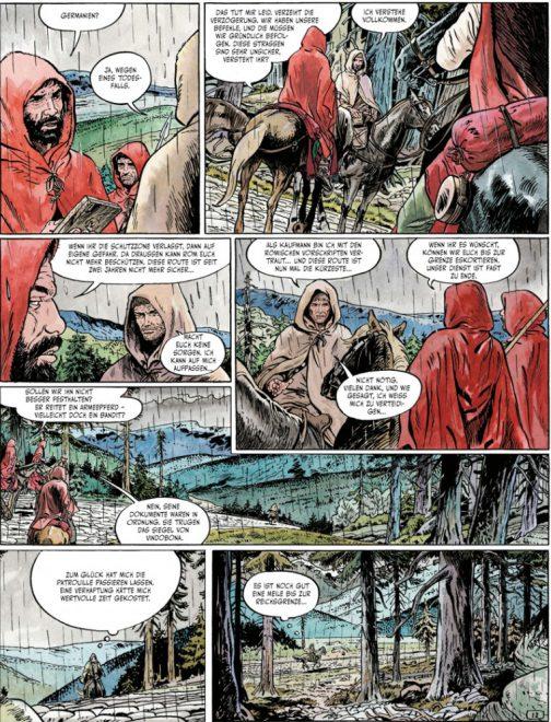 Leseprobe von Seite 14 zeigt einige Personen im Regen auf Pferden