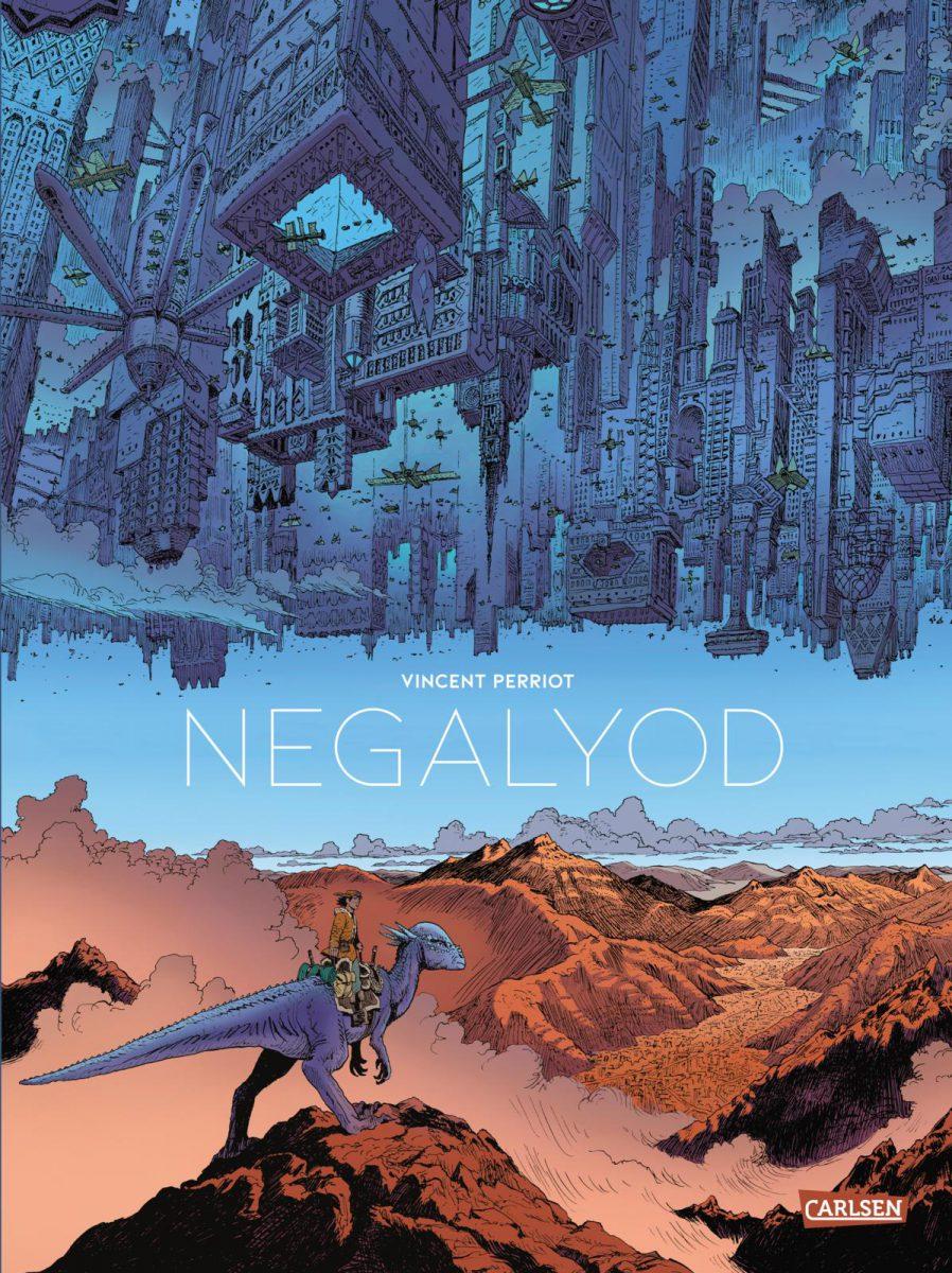 Cover - oben eine fliegende futuristische Stadt in blau, darunter eine Wüste und ein Reiter auf einem Saurier