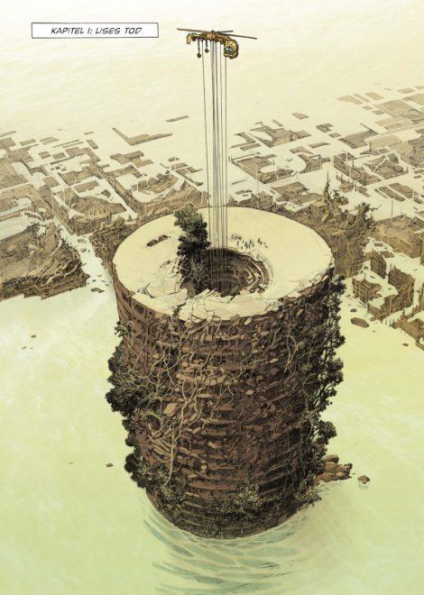 Leseprobe eine ganze Seite, die einen Turm zeigt