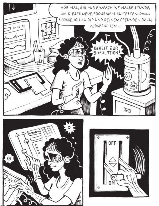 Leseprobe in schwarzweiß einer Comicseite