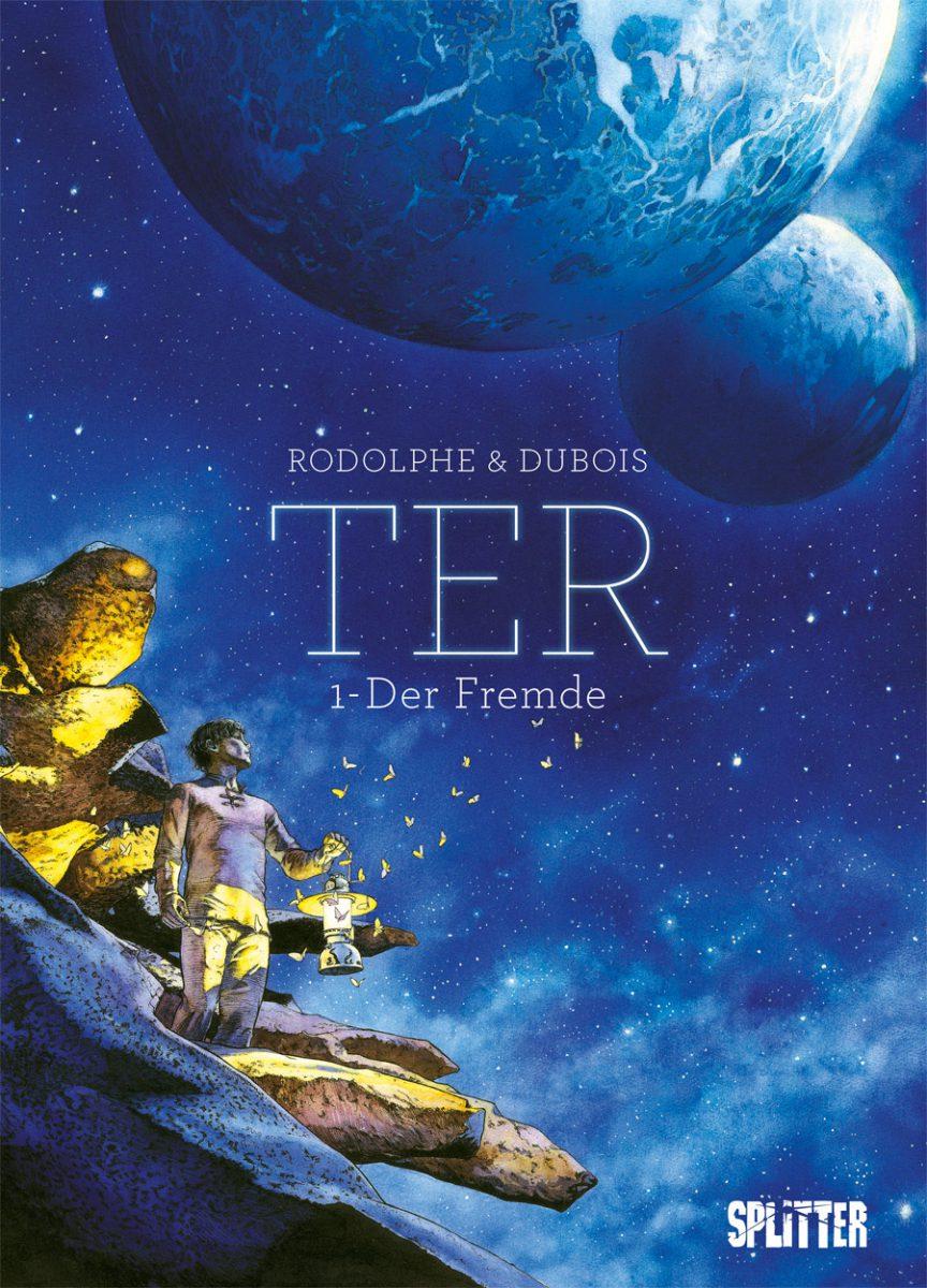Cover in blau mit einem Mann, der zu Monden hochschaut