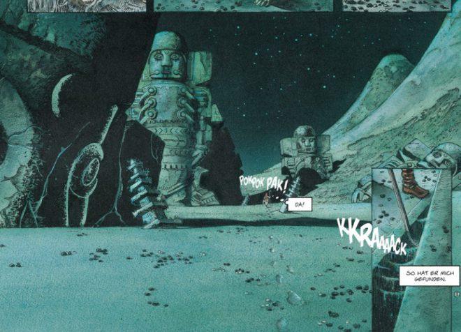 Comicleseprobe - ein Panel in blaugrüngrau