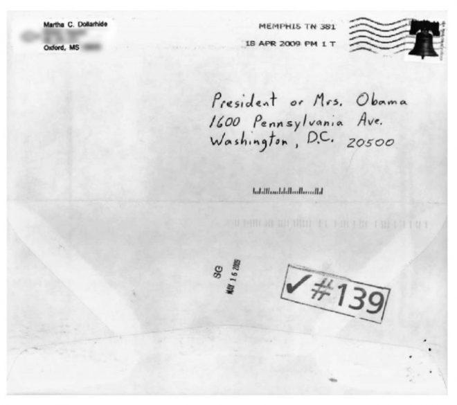 Abbildung eines Briefumschlags adressiert an Barack Obama