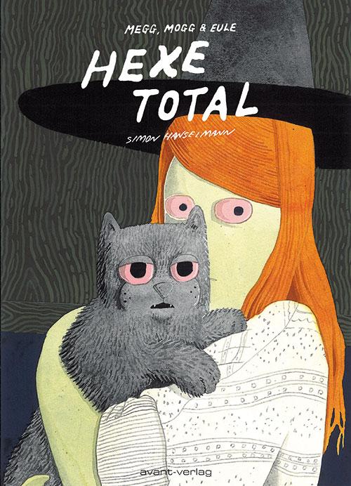 Cover zeigt die Hexe mit einer grauen Katze auf dem Arm, beide haben pinke Augen