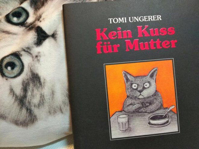 Buch vor einem Kissen mit Katzenaufdruck